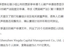 贾跃亭前20大债权人:英大资本索赔2.79亿美元居首